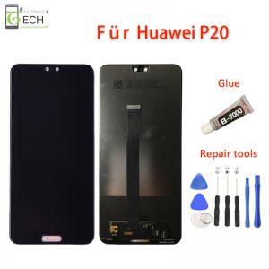 LCD Touchscreen für Original Huawei P20 Display Glas Displayeinheit Schwarz + Werkzeuge.