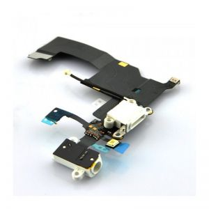 Für iPhone 5 Ladebuchse Flex Audio Jack Buchse Mikrofon Kabel Kopfhöreranschluss Weiß