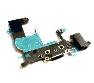 Für iPhone 5 Ladebuchse Flex Audio Jack Buchse Mikrofon Kabel Kopfhöreranschluss Schwarz