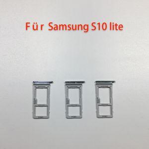Für Samsung Galaxy S10 Lite G770F schwarze Dual SIM-Tray Halter Slot Karte Schlitten Sim Fach